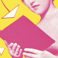 pink and yellow collage of woman reading a book
